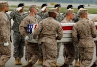 <p>A US Marine Corps carry team moves the flag-draped transfer case with the remains of U.S. Marine Corps Sgt. John Huling across the tarmac at Dover Air Force Base on May 9 in Dover, Delaware. NATO forces have also suffered an increasing number of so-called green-on-blue attacks, in which Afghan army troops have turned their weapons against their US-led allies.</p>