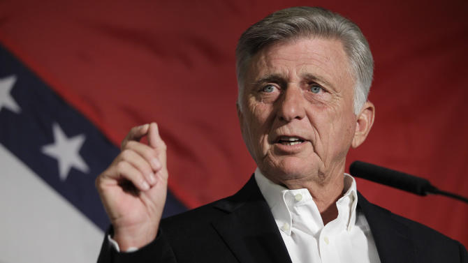 In this photo taken Aug. 18, 2012, Arkansas Gov. Mike Beebe speaks to delegates at the Democratic Party of Arkansas state convention in North Little Rock, Ark. When Beebe and other state Democrats talk about their 2012 priorities, they are focusing on races that could decide whether the Legislature falls to Republicans for the first time since Reconstruction. (AP Photo/Danny Johnston)