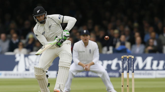 New Zealand's Martin Guptill plays a ball off the bowling of England's Mark Wood during play on the second day of the first Test match at Lord's cricket ground in London, Friday, May 22, 2015. (AP Photo/Kirsty Wigglesworth)