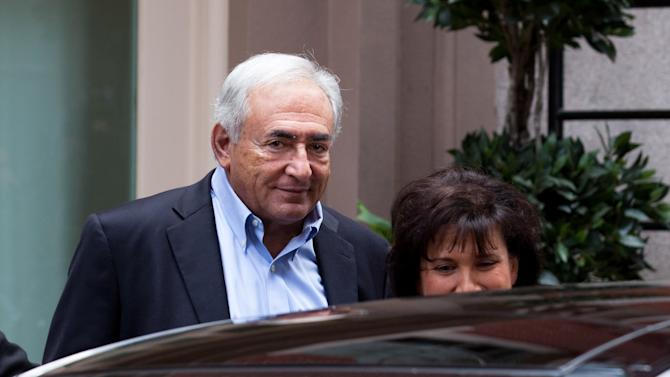 Former International Monetary Fund leader Dominique Strauss-Kahn leaves his temporary residence in Tribeca, Saturday, July 2, 2011, in New York.  A judge released him Friday without bail or home confinement in the sexual assault case against him after prosecutors acknowledged serious questions about the credibility of the hotel maid who accused him of sexual assault. The criminal case against him stands. (AP Photo/John Minchillo)