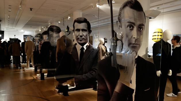 A general view of the James Bond movie memorabilia charity auction at Christie's auction house during the press pre-view showing large portraits of the actors who have portrayed the famous movie icon James Bond.