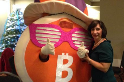 Meet Mr. Bitcoin and Curly the dog, mascots of the Bitcoin Bowl or whatever