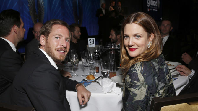 Will Kopelman and Drew Barrymore attend the 24th Annual GLAAD Media Awards at the JW Marriott on Saturday, April 20, 2013 in Los Angeles. (Photo by Todd Williamson/Invision/AP)
