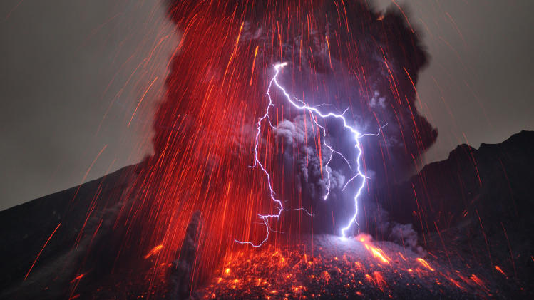 Lightning Volcano Eruption