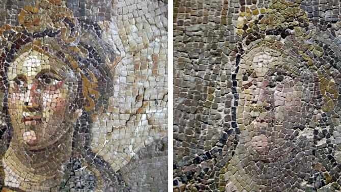 This 2 photo combination image provided by journalist Tamer Yazar on Tuesday May 5, 2015, shows a mosaic before restoration, left, and after restoration, right, in Antakya, Turkey. At least eight ancient mosaics were ruined while being restored and moved to a new museum in southern Turkey and authorities are looking into ways to fix the botched work, a senior official said Tuesday. (Tamer Yazar via AP)