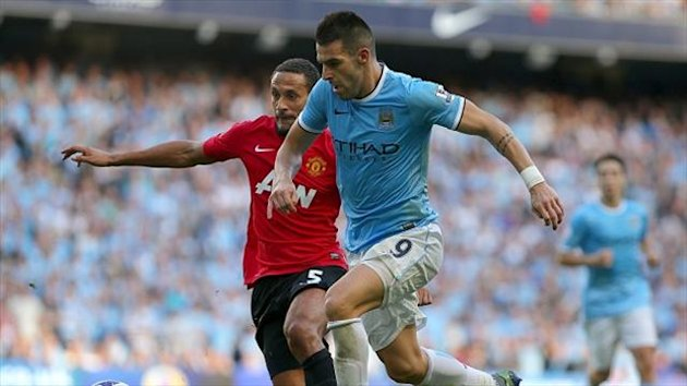 Alvaro Negredo, right, revelled in Manchester City's victory over Manchester United