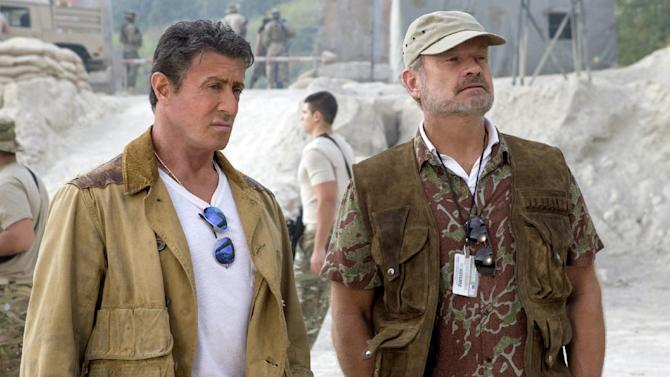 """This image released by Lionsgate shows Sylvester Stallone, left, and Kelsey Grammer in a scene from """"Expendables 3."""" (AP Photo/Lionsgate, Phil Bray)"""