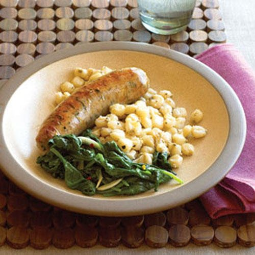 Sausage with Hominy and Spinach