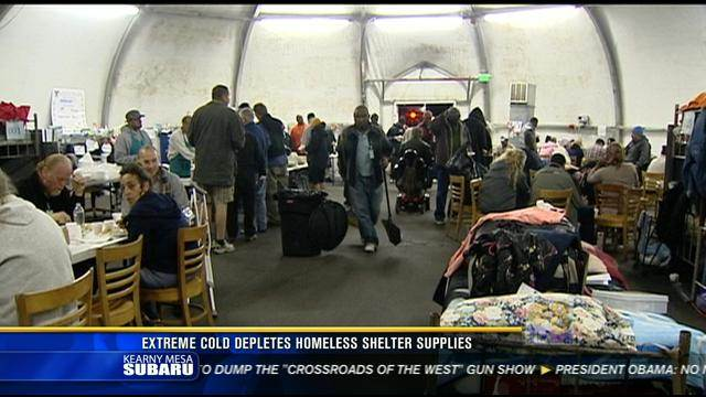 Extreme cold depletes homeless shelter supplies