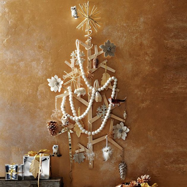 west elm wooden wall tree Space-saving Christmas tree alternatives