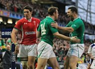 Ireland's Tommy Bowe (C) celebrtes his try against Wales with teammate Robert Kearny, during their Six Nations rugby union match at the Aviva stadium in Dublin, on February 5. Ireland play Italy next, on Saturday, in Dublin