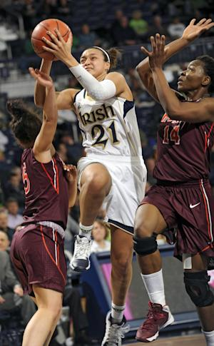McBride leads ND women to 74-48 win over Hokies