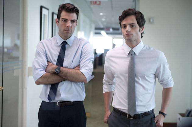 "FILE - In this publicity file image released by Roadside Attractions, Zachary Quinto, left, and Penn Badgley are shown in a scene from ""Margin Call."" (AP Photo/Roadside Attractions, JoJo Whilden, File)"