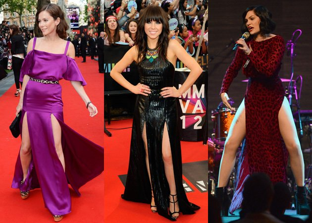 Anna Friel, Carly Rae Jepsen, Jessie J, double slit leg dress