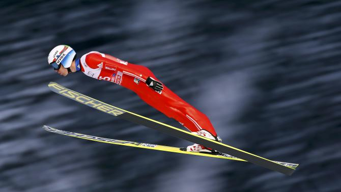 Bardal from Norway soars through the air during the trial round for the first jumping of the 63rd four-hills ski jumping tournament in Oberstdorf