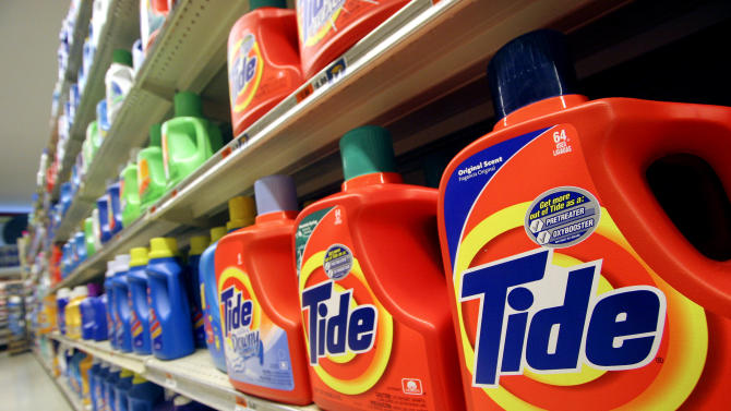 FILE - This Monday, Oct. 31, 2005 file photo shows Tide laundry detergent on a shelf at a New York supermarket. Tide has become a hot commodity for thieves, at least in parts of the country. For a variety of reasons, it's especially well-suited to sale on the black market. Everybody needs laundry detergent, and Tide is the nation's most popular brand. It's expensive, costing up to $20 for a large bottle. It's nonperishable, and there's no need to repackage it for illicit sales. (AP Photo/Mark Lennihan, File)