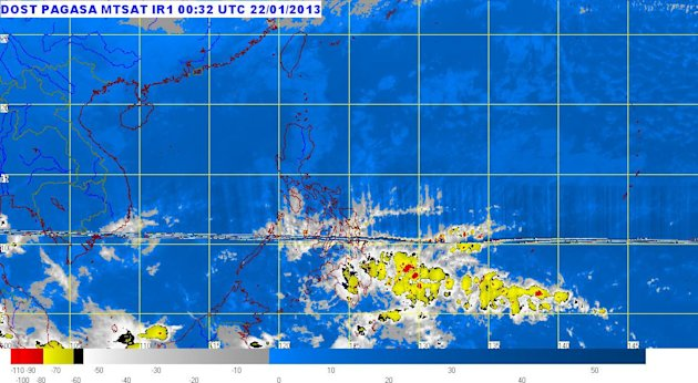 At least three people were killed while two are missing in the wake of rain brought by the tail-end of a cold front in Mindanao, the National Disaster Risk Reduction and Management Council said Tuesday.  (Photo from Pagasa website)
