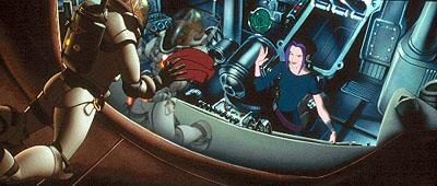 Cale ( Matt Damon ) makes a bad first impression with Akima ( Drew Barrymore ) outside the spaceship Valkyrie in 20th Century Fox's Titan A.E.