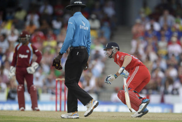 England's Ben Stokes runs during the second T20 International cricket match against West Indies at the Kensington Oval in Bridgetown, Barbados, Tuesday, March 11, 2014. (AP Photo/Ricardo Mazalan)