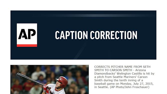 CORRECTS PITCHER NAME FROM SETH SMITH TO CARSON SMITH - Arizona Diamondbacks' Welington Castillo is hit by a pitch from Seattle Mariners' Carson Smith during the tenth inning of a baseball game on Monday, July 27, 2015, in Seattle. (AP Photo/John Froschauer)