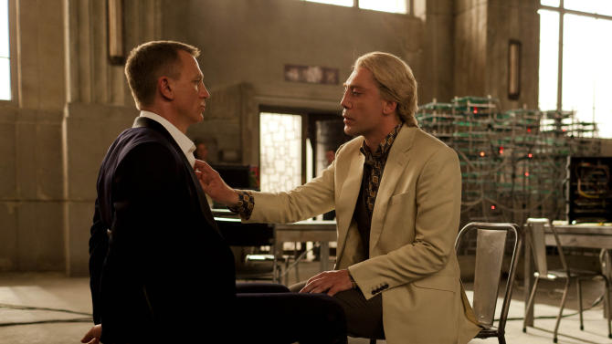 """FILE - This publicity film image released by Sony Pictures shows Daniel Craig, left, and Javier Bardem in a scene from the film """"Skyfall."""" Bardem portrays, Raoul Silva, one of the finest arch-enemies in the 50-year history of Bond films. (AP Photo/Sony Pictures, Francois Duhamel, File)"""