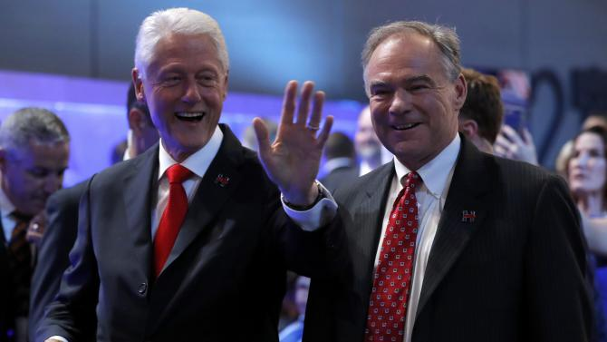 Former U.S. president Clinton arrives with Democratic vice presidential candidate Kaine arrive at the Democratic National Convention in Philadelphia