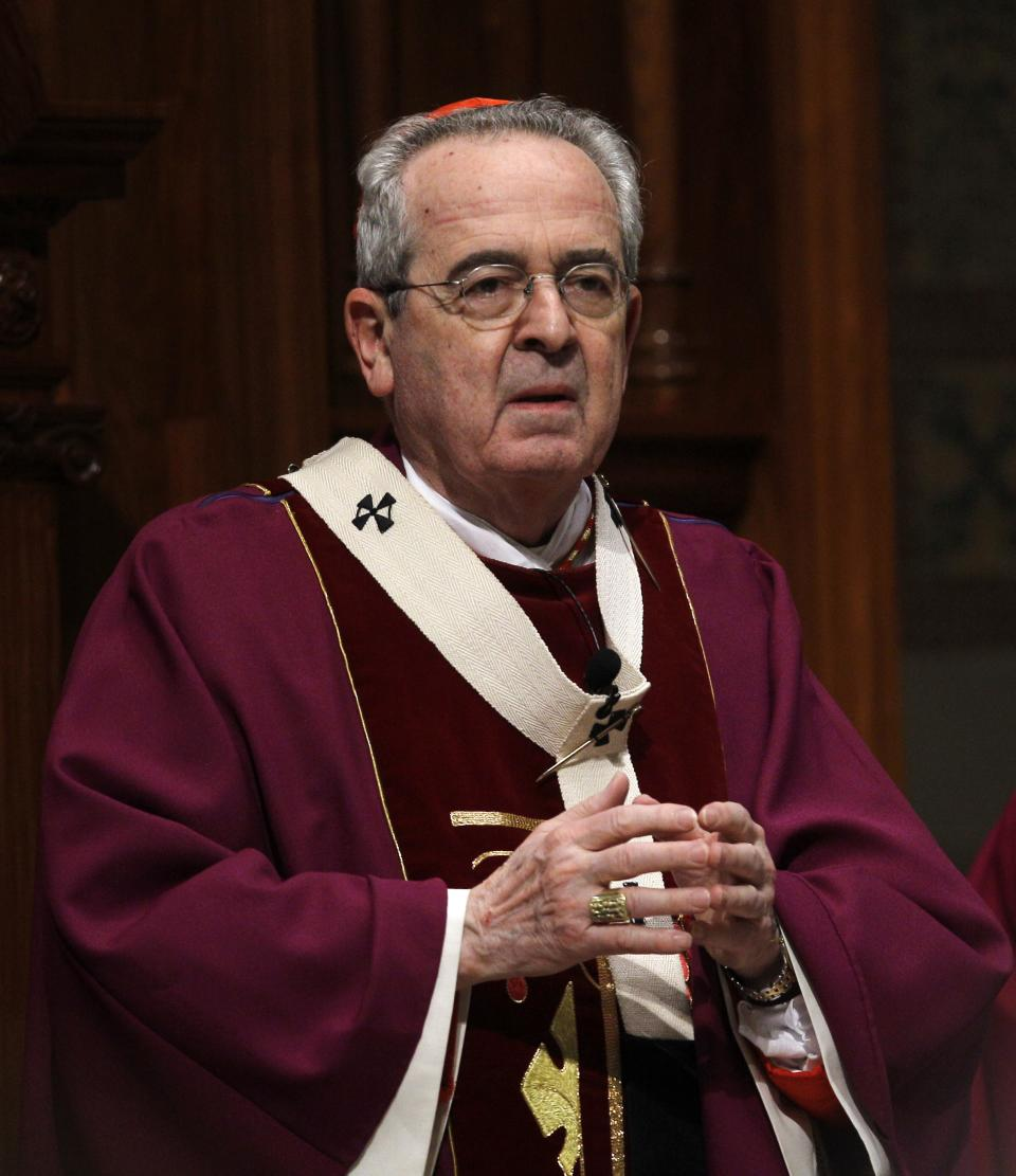 In this  March 9, 2011 photo Cardinal Justin Rigali, Archbishop of Philadelphia, is seen at the Cathedral Basilica of Saints Peter and Paul in Philadelphia.  Rigali is expected to step down Tuesday, July 18, 2011 after eight tumultuous years leading the Roman Catholic Archdiocese of Philadelphia.  (AP Photo/Matt Rourke)