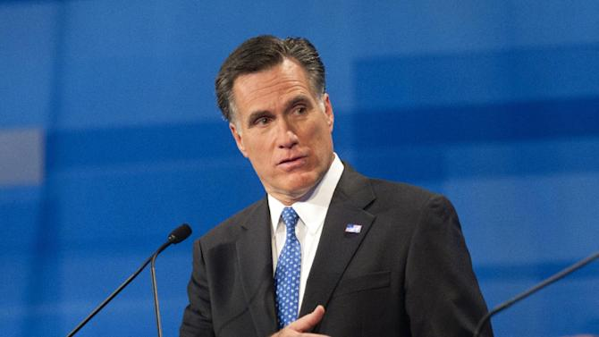 Republican presidential candidate former Massachusetts Gov. Mitt Romney speaks during the South Carolina Republican presidential candidate debate Monday, Jan. 16, 2012, in Myrtle Beach, S.C. (AP Photo/David Goldman)