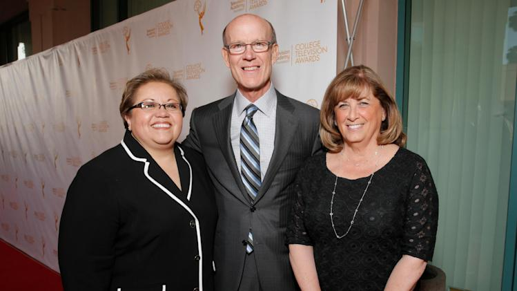 Academy foundation board members Norma Provencio Pichardo and from left, Jerry Petry and Susan Nessanbaum-Goldbert arrive at the 35th College Television Awards, presented by the Television Academy Foundation at The Leonard H. Goldenson Theatre in the NoHo Arts District on Wednesday, April 23, 2014, in Los Angeles. (Photo by Todd Williamson/Invision for the Television Academy/AP Images)