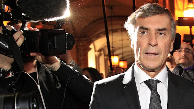 Former French budget minister Jerome Cahuzac arrives for his trial in Paris, Monday, Feb.8, 2016. Cahuzac appears in court on charges of tax fraud and money laundering that forced him to dramatically resign three years ago in the first political scandal under President Francois Hollande. (AP Photo/Thibault Camus)