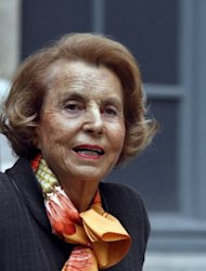 A file picture taken on October 12, 2011 shows the L'Oreal heiress Liliane Bettencourt leaving the Institut de France in Paris. Ex-president Nicolas Sarkozy told judges he received no money from France's richest woman, amid allegations that his 2007 election campaign was illegally financed.