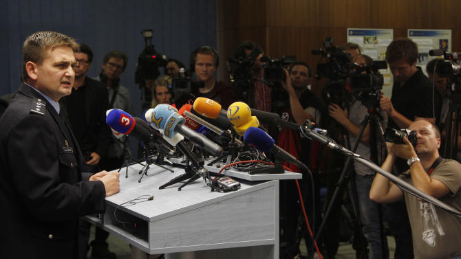"""Czech Republic's Police President Martin Cervicek, during a press conference in Prague, Czech Republic, Monday, Sept. 24, 2012. Two people who police believe have been responsible for a wave of methanol poisoning that has killed at least 25 people in the Czech Republic in last two weeks have been arrested, law enforcement officials said on Monday. State prosecutor Roman Kafka said the two persons from the northeastern part of the country are suspected of producing a """"brutal blend"""" of toxic methanol with drinking alcohol, even though they had to know it could seriously damage the life of those who would drink it. (AP Photo/Petr David Josek)"""