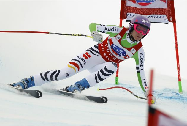 Hoefl-Riesch of Germany speeds down in the women's FIS Alpine Skiing World Cup Downhill race in the Swiss resort of Crans Montana