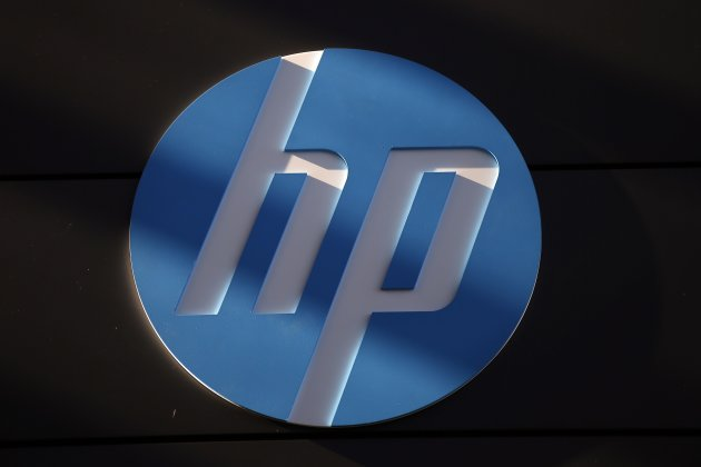 File photo of a Hewlett-Packard logo at the company's Executive Briefing Center in Palo Alto