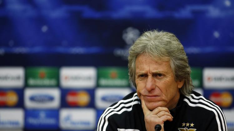 Benfica coach Jorge Jesus attends a news conference after a training session in Seixal