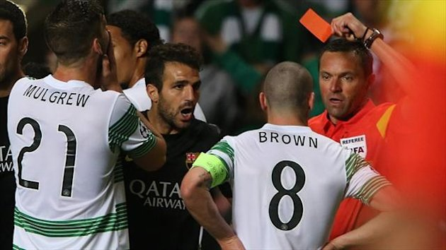 Scott Brown was dismissed for aiming a kick at Barcelona star Neymar on Tuesday night