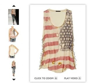 Balmain's tattered and bruised flag tank is selling out online. (via Today.com)