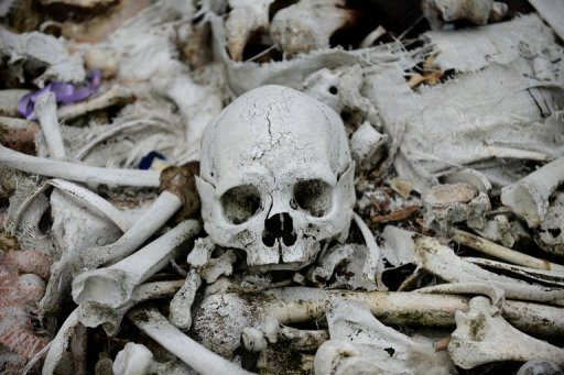 A photo of bones and skulls scattered in a cemetery, taken in October. A Swedish woman has been charged with possession of human skulls and bones, which the prosecution claimed she used for sexual purposes