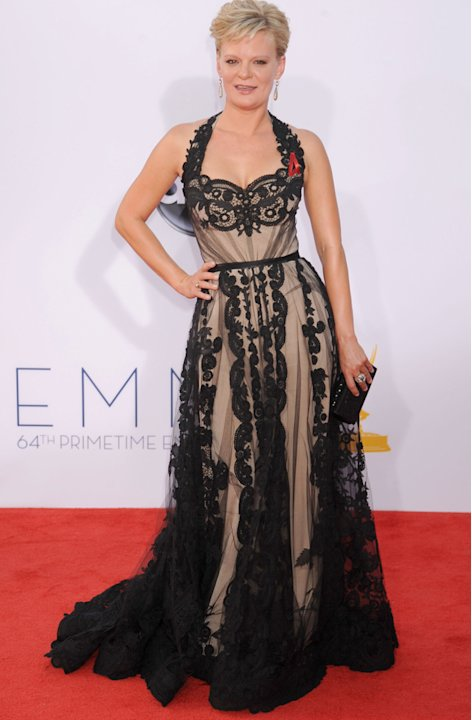Emmys 2012: The Goonies star Martha Plimpton rocks the black lace look.