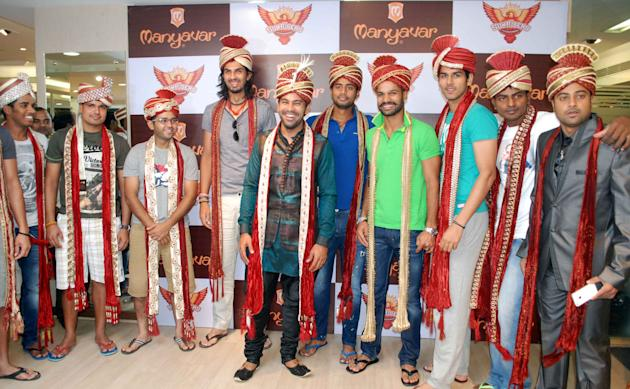 Players of Sunrisers Hyderabad team visited a store for men ethnic wear in Hyderabad on May 2, 2013. In picture ( L to R ).Anhit Sharma, Akshath Reddy, Karan Sharma, Parthiv Patel, Ishant Sharma, Sach