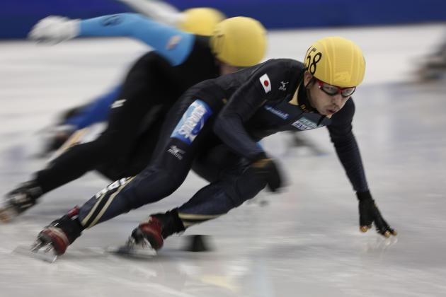 Japan's Satoshi competes in the men's 500m preliminary race during the ISU Short Track World Cup speed skating competition in Shanghai