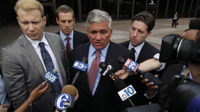 Peter Ronai, left, Jeff Goodman, Robert Mongeluzzi, and Andrew Duffy, attorneys for family members of two Hungarian students killed in a 2010 duck boat accident speak outside the U.S. Courthouse Wednesday, May 9, 2012 in Philadelphia. A $17 million settlement has been reached in the wrongful-death case of Hungarian students Szabolcs Prem, 20, and Dora Schwendtner, 16, killed when the sightseeing boat they were on was run over by a barge. (AP Photo/Alex Brandon)
