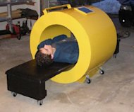 This full-size mockup shows a compact MRI scanner that could fit aboard the space station.