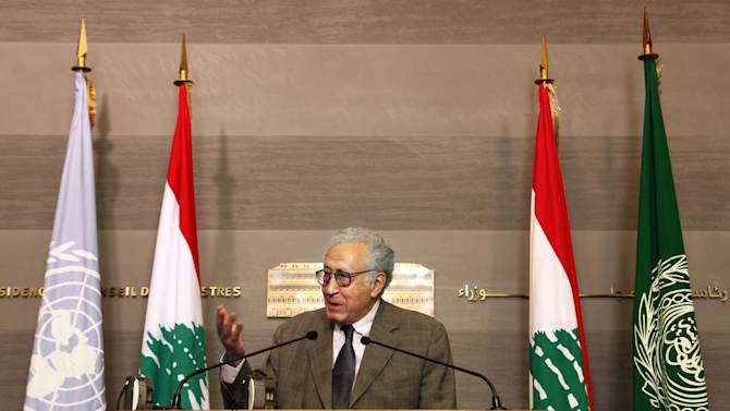 UN Arab League deputy to Syria, Lakhdar Brahimi, speaks during a press conference after meeting Lebanese Prime Minister Najib Mikati, at the government palace, in Beirut, Lebanon, Wednesday, Oct. 17, 2012. Brahimi is in Beirut to meet with Lebanese officials. (AP Photo/Bilal Hussein)