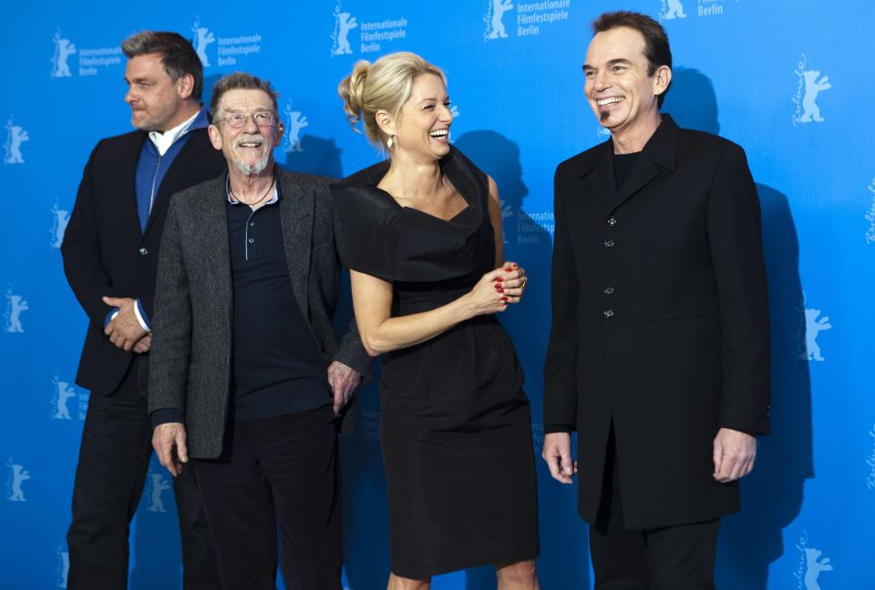 From left actors Ray Stevenson, John Hurt, Katherine LaNasa and director Billy Bob Thornton, pose for the photo call of the film Jayne Mansfield's Car at the 62 edition of the Berlinale, International Film Festival in Berlin Monday, Feb. 13, 2012. (AP Photo/Markus Schreiber)