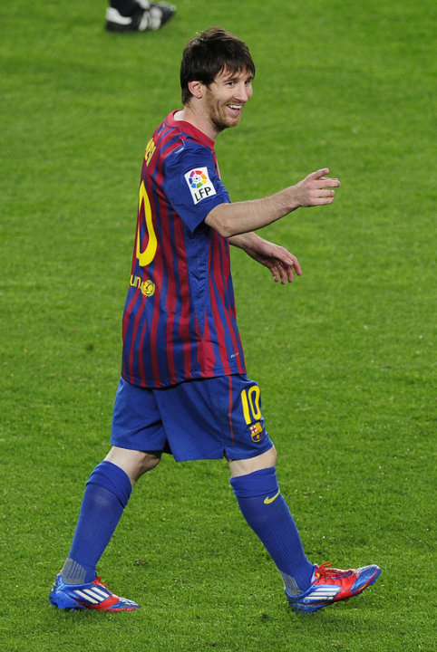 Barcelona's Argentinian Forward Lionel Messi Celebrates AFP/Getty Images