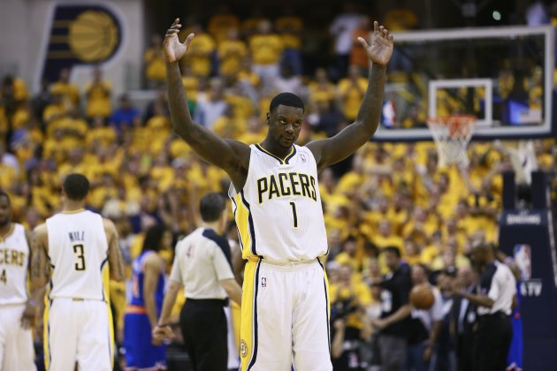 Indiana Pacers' Lance Stephenson reacts during an NBA Eastern Conference second round playoff basketball game against the New York Knicks in Indianapolis
