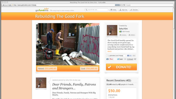 This Dec. 19, 2012 image shows a frame grab of gofundme.com. This web page solicits donations to rebuild a New York restaurant, The Good Fork. In the aftermath of Superstorm Sandy, some who lost their homes or businesses have turned to crowd-funding websites. (AP Photo/gofundme.com)