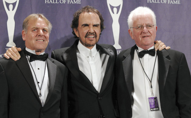 "FILE - This is a Monday, March 10, 2008, file photo of musicians Dave Clark, center, Lenny Davidson, left, and Rick Huxley of the British band the Dave Clark Five pose backstage at the Rock and Roll Hall of Fame Induction Ceremony,in New York. Bass player Rick Huxley, one of the founding members of the Dave Clark Five, has died. He was 72. Clark announced Huxley's death Tuesday, Feb. 12, 2013 saying the news was ""devastating."" (AP Photo/Evan Agostini, File)"