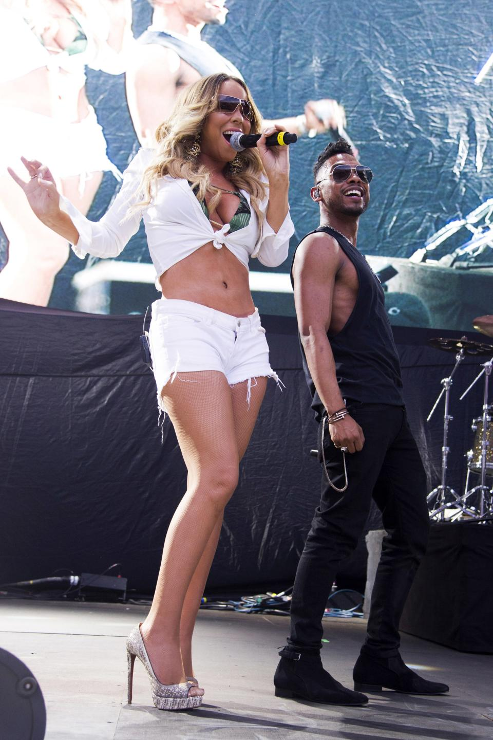 Mariah Carey and Miguel perform at the Hot 97 Summer Jam XX on Sunday, June 2, 2013 in East Rutherford, N.J. (Photo by Charles Sykes/Invision/AP)